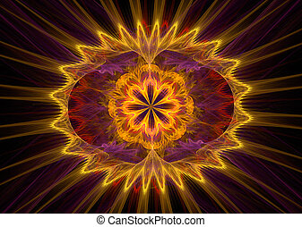 illustration of a fractal background with glowing floral...