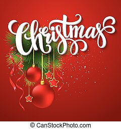 Christmas lettering card with fir-tree branch. Vector illustration