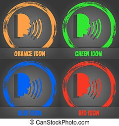 Talking Flat modern web icon. Fashionable modern style. In the orange, green, blue, red design. Vector
