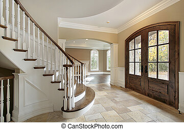 Foyer in new construction home - Foyer with stairway and...