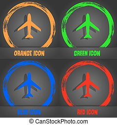 Airplane sign. Plane symbol. Travel icon. Flight flat label. Fashionable modern style. In the orange, green, blue, red design. Vector