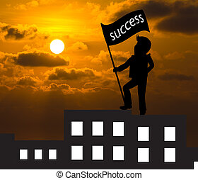 Concept skyline ,Man with success flag standing on the top of building