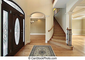 Foyer with stain glass door - Foyer in new construction home...