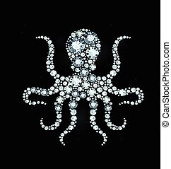 Diamond Octopus - Octopus made of shiny diamonds