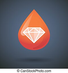 Blood drop icon with a diamond