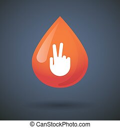 Blood drop icon with a victory hand