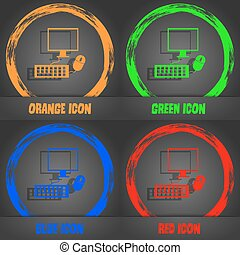 Computer widescreen monitor, keyboard, mouse sign icon. Fashionable modern style. In the orange, green, blue, red design. Vector