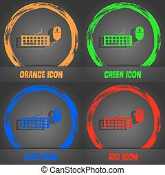 Computer keyboard and mouse Icon. Fashionable modern style. In the orange, green, blue, red design. Vector