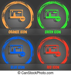 minus File JPG sign icon. Download image file symbol. Set colourful buttons. Fashionable modern style. In the orange, green, blue, red design. Vector