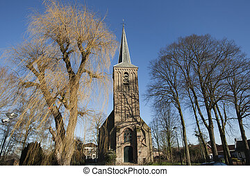 Reformed church in Berkenwoude in the Netherlands, in winter