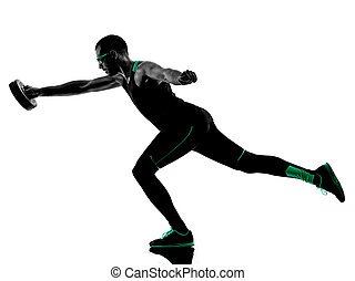 man crossfit weight disk exercises silhouette