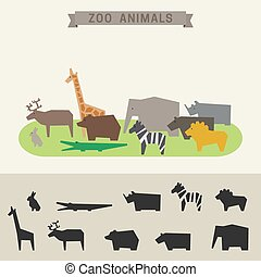 Zoo animals - Zoo banner with geometric animals in flat...