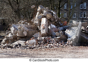 Demolition rubble - Demolition of a residential district in...