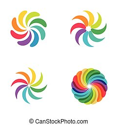 rainbow flower logo set.
