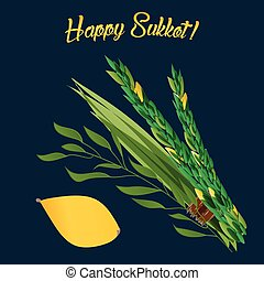 Holiday of Sukkot illustration - Vetor illustration of four...