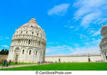 Piazza dei Miracoli in tilt shift effect, Pisa