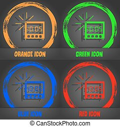 digital Alarm Clock icon sign. Fashionable modern style. In the orange, green, blue, red design. Vector