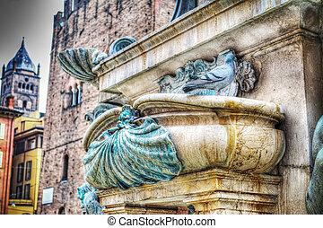 triton,  bologna, haut,  détail, fontaine, fin