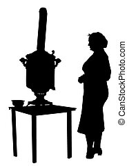 Samovar - Woman standing beside a samovar on a white...