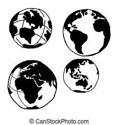 illustration vector doodles hand drawn planet earth set -...