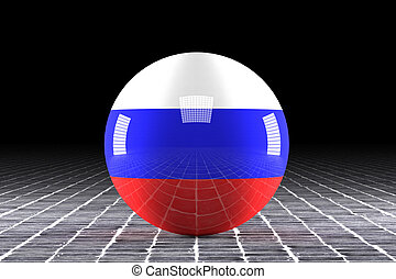 russian flag - 3d rendering of a russian flag on a sphere