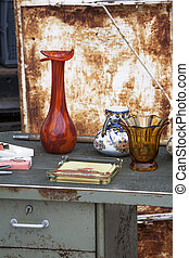 Jumble sale - Second hand objects at a jumble sale in France