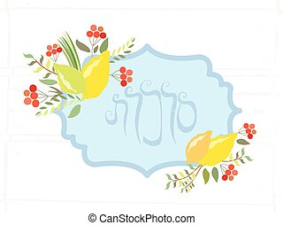 Vector collection of labels and elements for Sukkot (Jewish...