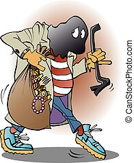 Vector illustration of a thief - Vector illustration cartoon...