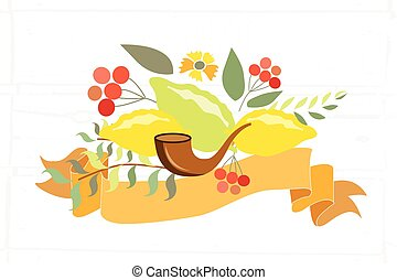 Vector collection of labels and elements for Sukkot Jewish...