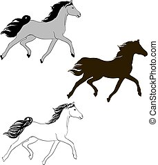one horse in different styles - drawing of a horse in three...