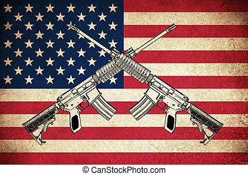 Grunge Flag of USA with guns - Grunge Flag of USA / United...