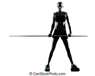 woman Javelin thrower silhouette - one caucasian woman...