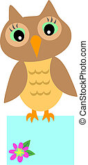 Owl with Message Box - Here is a cute Owl with large eyes...
