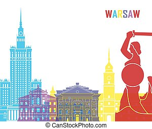 Warsaw skyline pop in editable vector file