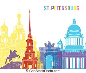 St Petersburg skyline pop in editable vector file