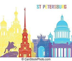St Petersburg skyline pop in editable vector file