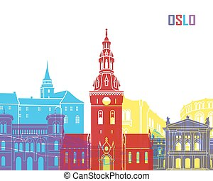 Oslo skyline pop in editable vector file