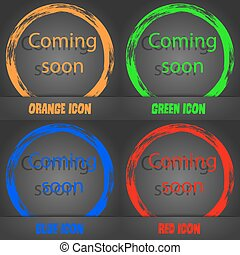 Coming soon sign icon. Promotion announcement symbol. Fashionable modern style. In the orange, green, blue, red design. Vector