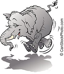 Baby elephant playing with shadow - Vector cartoon...