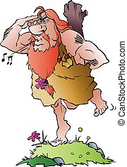 Cave man looking for company - Vector cartoon illustration...