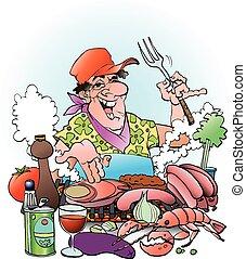 Grillmaster inviting - Vector cartoon illustration of a...