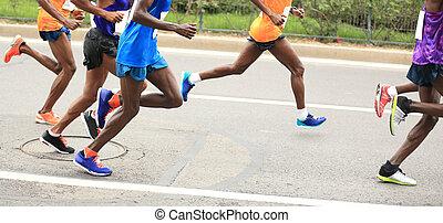 Marathon running race, people on city road - Marathon...