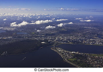 Aerial view of Perth Australia with broken cloud formation