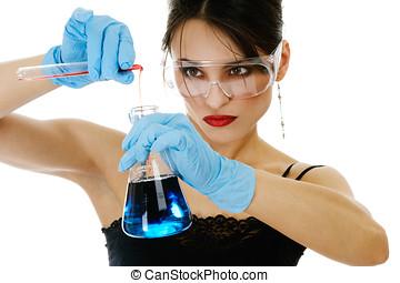 hermoso, mujer, químico, cristalería