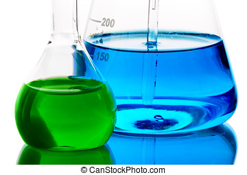 Laboratory glassware with analyzing liquid isolated over...