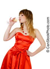 Beautiful woman drinking champagne