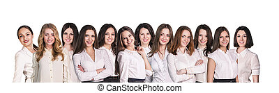 Businesswomen lineup - Businesswomen with smile lineup on...