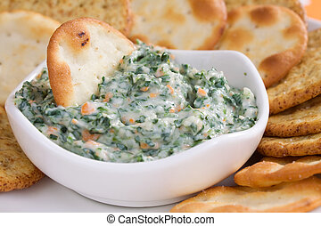 Spinach Dip & Crackers - Creamy spinach dip with crackers.