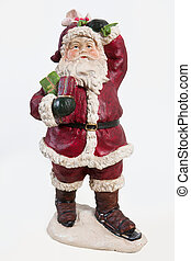 Santa Klaus - Old fashioned handmade statuette of Santa...