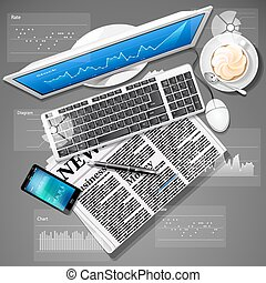 Stock market graph on computer screen and mobile phone with newspaper